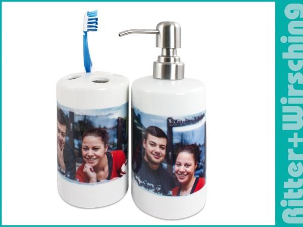 Badezimmer-Set Seifenspender + Zahnbürstenhalter